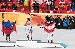 February 17, 2018 - PyeongChang, South Korea - (L-R) Bronze medal winner TINA WEIRATHER of Liechtenstein, Gold medal winner ESTER LEDECKA of Czech Republic, and Silver medal winner ANNA VEITH of Austria during the podium ceremony for Alpine Skiing: Ladies Super-G at Jeongseon Alpine Centre at the 2018 Pyeongchang Winter Olympic Games. (Credit Image: © Patrice Lapointe via ZUMA Wire)