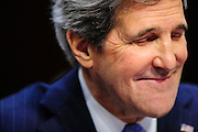 Senator JOHN KERRY (D-MA) testifies before the Senate Foreign Relations Committee during his confirmation hearing to be U.S. Secretary of State.