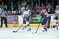 KELOWNA, CANADA - DECEMBER 17: Cole Linaker #26 of Kelowna Rockets passes the puck against the Kamloops Blazers on December 27, 2014 at Prospera Place in Kelowna, British Columbia, Canada.  (Photo by Marissa Baecker/Shoot the Breeze)  *** Local Caption *** Cole Linaker;