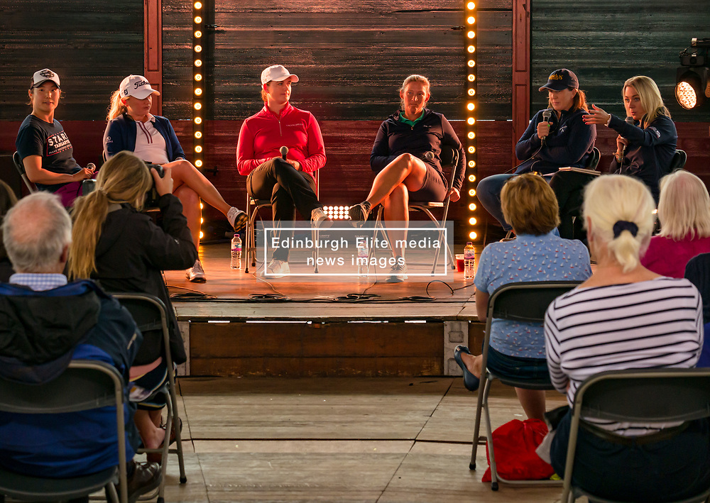Pictured: Fringe by the Sea, North Berwick, East Lothian, Scotland, United Kingdom, 06 August 2019. Top female golfers competing in the Aberdeen Standard Investments Ladies Scottish Open this week appear on a panel and take questions from the audience, as part of a podcast called On the Dance Floor. Pictured: from L to R Tiffany Joh (USA), Bronte Law (UK), Caroline Masson (Germany), Angela Stanford (USA), Beth Allen (USA) and sports broadcaster Emma Dodds.<br /> <br /> Sally Anderson   EdinburghElitemedia.co.uk