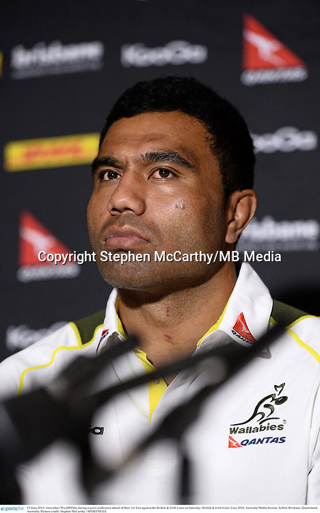 19 June 2013; Australia's Wycliff Palu during a press conference ahead of their 1st Test against the British & Irish Lions on Saturday. British & Irish Lions Tour 2013, Australia Media Session. Sofitel, Brisbane, Queensland, Australia. Picture credit: Stephen McCarthy / SPORTSFILE