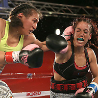 "Noemi Bosques (R) throws a right hand against Nydia Feliciano""s left hook during a Telemundo Boxeo boxing match at the A La Carte Pavilion on Friday,  March 13, 2015 in Tampa, Florida.  Feliciano won the bout by split decision. (AP Photo/Alex Menendez)"