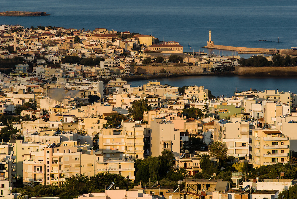 The sun rises over the city of Chania, Crete.