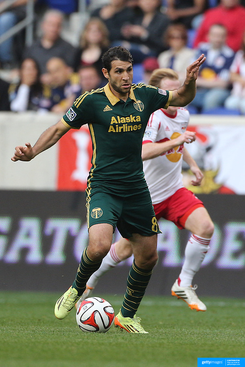 Diego Valeri, Portland Timbers, in action during the New York Red Bulls Vs Portland Timbers, Major League Soccer regular season match at Red Bull Arena, Harrison, New Jersey. USA. 24th May 2014. Photo Tim Clayton