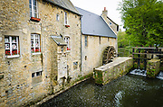 Waterwheel and stream, Bayeux, Normandy, France