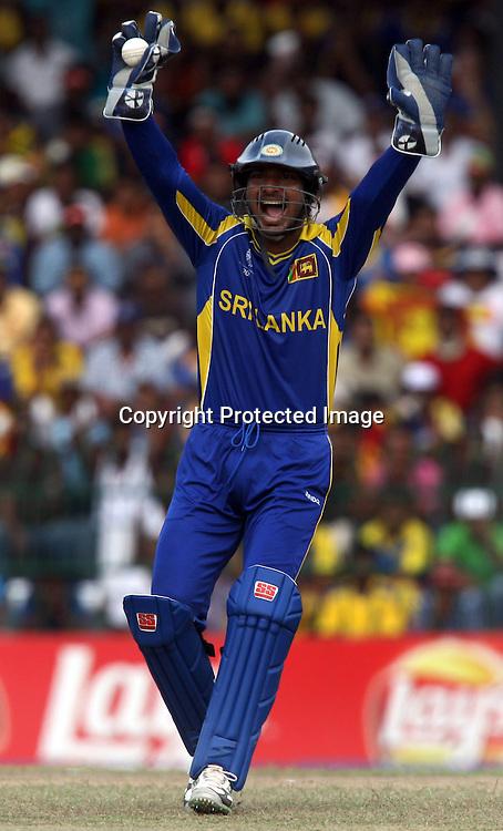 Sri Lankan captain Kumar Sangakara during the ICC Cricket World Cup - 4th Quarter-Final Played at R Premadasa Stadium, Colombo