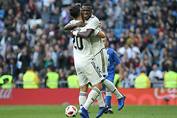 December 6, 2018 - Madrid, Madrid, Spain - Asensio and Vinicius Jr. of Real Madrid celebrating a goal during the King Throphy Spanish Championship,  football match between Real Madrid and Melilla on December 06, 2018 at Santiago Bernabeu stadium  in Madrid, Spain. (Credit Image: © AFP7 via ZUMA Wire)