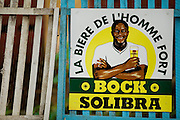 Beer advert in Dimbokro, Cote d'Ivoire on Friday June 19, 2009.