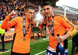Free to use courtesy of Sky Bet - Conor Coady and Danny Batth of Wolverhampton Wanderers celebrate after lifting the Sky Bet Championship 2017/18 league trophy - Mandatory by-line: Matt McNulty/JMP - 28/04/2018 - FOOTBALL - Molineux - Wolverhampton, England - Wolverhampton Wanderers v Sheffield Wednesday - Sky Bet Championship