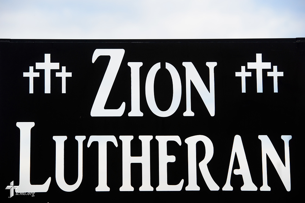 Exterior photograph of the Zion Lutheran Church, Worms, Neb., sign on Saturday, Sept. 23, 2017. LCMS Communications/Erik M. Lunsford