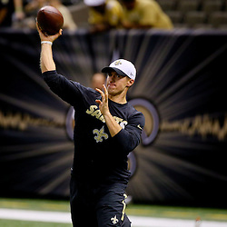 Aug 30, 2015; New Orleans, LA, USA; New Orleans Saints quarterback Drew Brees before a preseason game against the Houston Texans at the Mercedes-Benz Superdome. Mandatory Credit: Derick E. Hingle-USA TODAY Sports