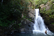 La Mina waterfall in El Yunque Rain Forest in Puerto Rico on November 23, 2015.