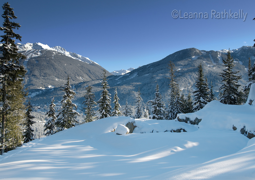 A clear sunny day in winter makes Whistler and Blackcomb Mountains touchable!