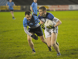 Paddy Barry Claremorris gets past Westport&rsquo;s Pat Lambert during the Mayo U21 A Final.<br />Pic Conor McKeown
