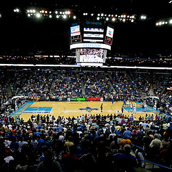 Apr 14, 2013; New Orleans, LA, USA; A general view from the stands during the first quarter of a game between the New Orleans Hornets and the Dallas Mavericks at the New Orleans Arena. Mandatory Credit: Derick E. Hingle-USA TODAY Sports