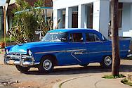 Blue car in Jaruco, Mayabeque, Cuba.