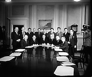 The Government Front Bench Meets..1973.15.03.1973..03.15.1973..15th March 1973..Picture of the Coalition Governments' first cabinet meeting at Government Buildings,Dublin today..The coalition was made up of Fine Gael and Labour deputies. The colaition parties had ousted the sitting Fianna Fail government in the recent general election..Front Row (L-R)..Mr Mark Clinton, Minister for Agriculture and Fisheries..Mr James Tully, Minister for Local Government..Mr Liam Cosgrave, Taoiseach..Mr Brendan Corish, Tanaiste, Minister for Health and Social Welfare..Mr Patrick Donegan, Minister for Defence..Mr Richie Ryan, Minister for Finance..Back Row (L-R)..Mr Patrick Cooney, Minister for Justice..Mr Tom Fitzpatrick, Minister for Lands..Mr Tom O'Donnell, Minister for The Gaeltach..Mr Peter Barry, Minister for Transport and Power..Mr Conor Cruise O'Brien, Minister for Posts and Telegraphs..Mr Richard Burke, Minister for Education..Mr Garret Fitzgerald, Minister for Foreign Affairs..Mr Michael O'Leary, Minister for Labour..Mr Declan Costello, Attorney General..Mr Justin Keating, Minister for Industry and Commerce.