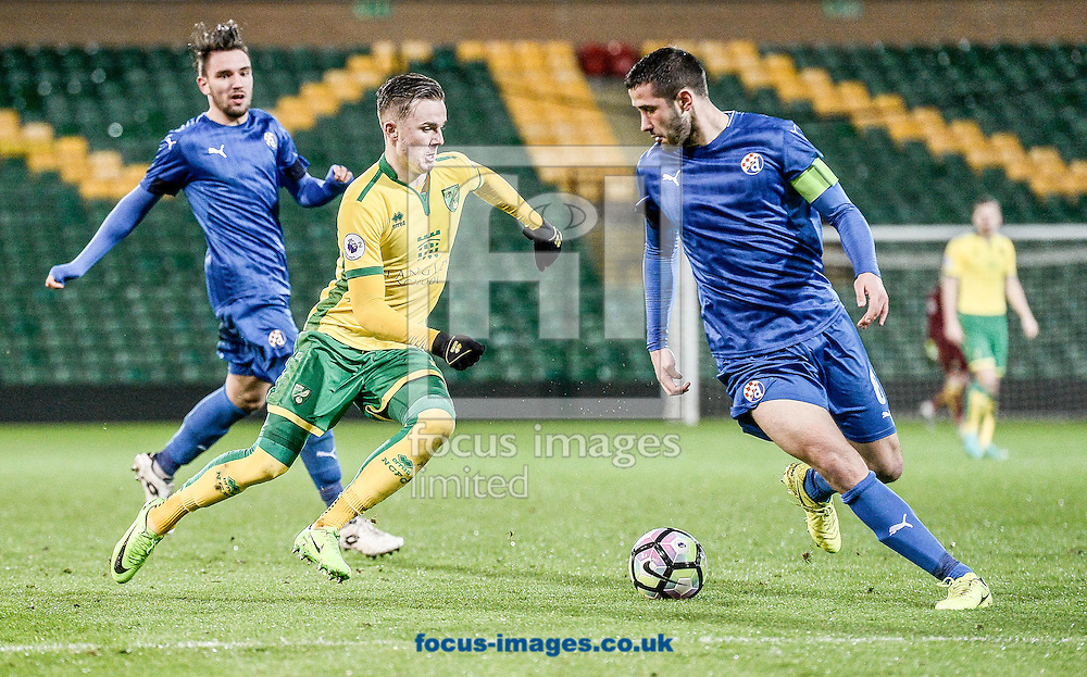 James Middison of Norwich City U23 versus Dinamo Zagreb U23 during the Premier League International Cup Quarter-Final match at Carrow Road, Norwich<br /> Picture by Matthew Usher/Focus Images Ltd +44 7902 242054<br /> 27/02/2017