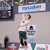 1st year middle Conal McAinsh (10) of the Regina Cougars in action during men's Volleyball home game on January 21 at Centre for Kinesiology, Health and Sport. Credit: Arthur Ward/Arthur Images