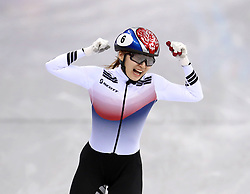 Korea Republic's Choi Min-jeong celebrates winning gold in the Short Track Speed Skating - Ladies 1,500m Final at the Gangneung Oval during day eight of the PyeongChang 2018 Winter Olympic Games in South Korea. PRESS ASSOCIATION Photo. Picture date: Saturday February 17, 2018. See PA story OLYMPICS Speed Skating. Photo credit should read: Mike Egerton/PA Wire. RESTRICTIONS: Editorial use only. No commercial use.