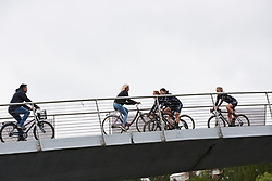 Wiggle High5 cross the footbridge to sign on at Ladies Tour of Norway 2018 Stage 2, a 127.7 km road race from Fredrikstad to Sarpsborg, Norway on August 18, 2018. Photo by Sean Robinson/velofocus.com