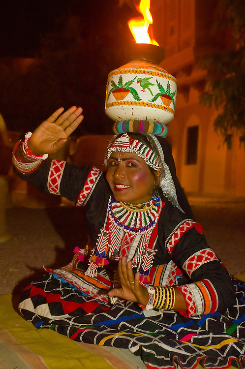 Rajasthani woman dancing, Khimsar Fort Hotel, Khimsar, Rajasthan, India