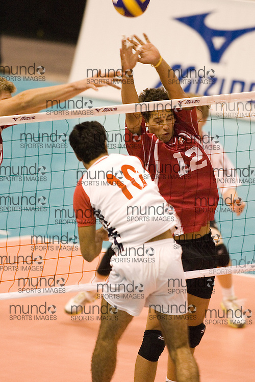 Doug Van Spronsen of  Canada Two during a three games to none defeat by Tunisia in the 2006 Anton Furlani Volleyball Cup, held in Ottawa, Canada. .Anton Furlani Cup.Copyright Sean Burges / Mundo Sport Images, 2006
