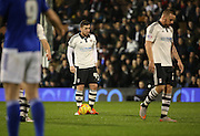 Ross McCormack lining up the free kick and scoring the equiliser during the Sky Bet Championship match between Fulham and Ipswich Town at Craven Cottage, London, England on 15 December 2015. Photo by Matthew Redman.
