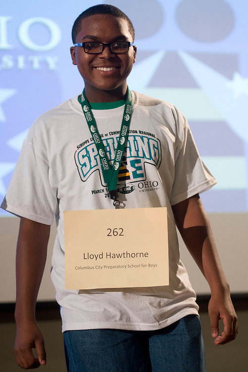 Lloyd Hawthorne of Columbus City Preparatory School for Boys introduces himself during the Columbus Metro Regional Spelling Bee Regional Saturday, March 16, 2013. The Regional Spelling Bee was sponsored by Ohio University's Scripps College of Communication and held in Margaret M. Walter Hall on OU's main campus.