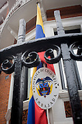 The national flag hangs outside the Columbian embassy in Hans Crescent, London SW1.