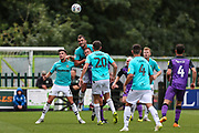 Forest Green Rovers Farrend Rawson(6) heads the ball clear during the EFL Sky Bet League 2 match between Forest Green Rovers and Port Vale at the New Lawn, Forest Green, United Kingdom on 8 September 2018.