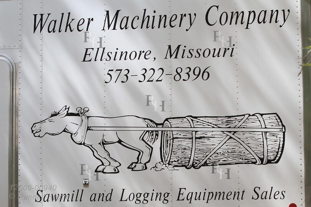 Logging machinery company at ultra-mechanized clearcutting of an Ozarks woodland at Missouri In Woods Logging Demo near Viburnum, Missouri.
