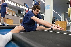 27 November 2007: North Carolina Tar Heels men's lacrosse Sean Burke during a weight lifting session in Chapel Hill, NC.