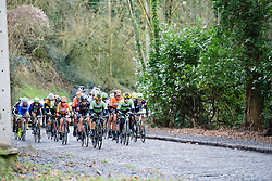 The leaders approach across the cobbles - Le Samyn des Dames 2016, a 113km road race from Quaregnon to Dour, on March 2, 2016 in Hainaut, Belgium.