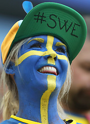 SAINT PETERSBURG, July 3, 2018  A fan of Sweden is seen prior to the 2018 FIFA World Cup round of 16 match between Switzerland and Sweden in Saint Petersburg, Russia, July 3, 2018. (Credit Image: © Cao Can/Xinhua via ZUMA Wire)