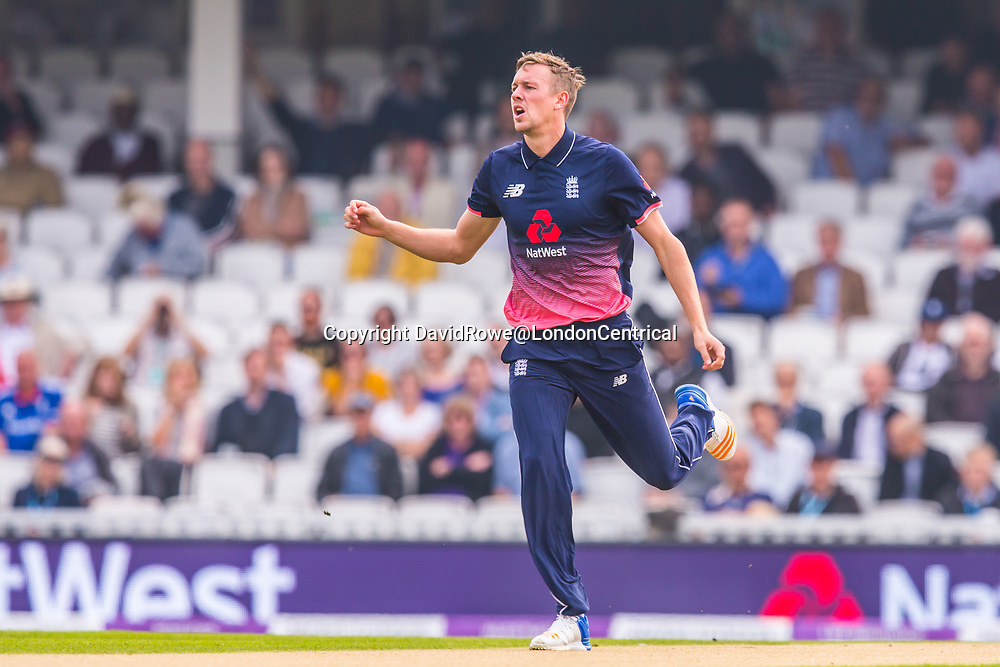 London,UK. 27 September 2017. Jake Ball bowling for England. England v West Indies. In the fourth Royal London One Day International at the Kia Oval.
