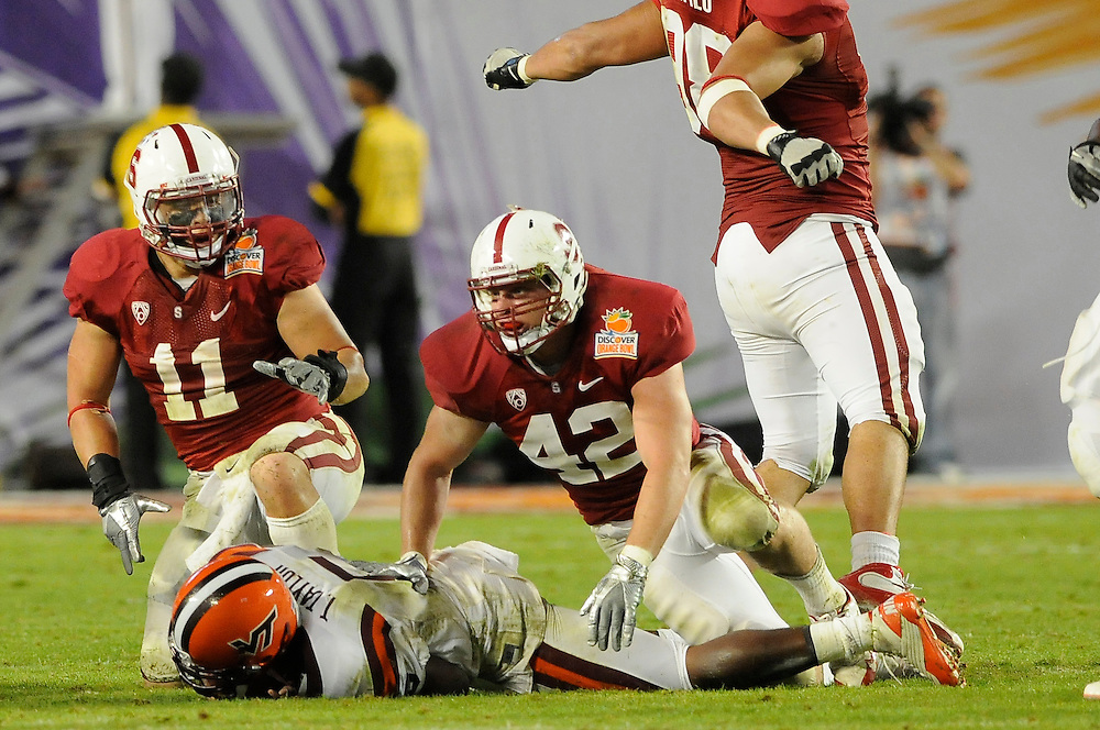 January 3, 2011: Shayne Skov (11) and Chike Amajoyi (43) of the Stanford Cardinal react after sacking Tyrod Taylor of the Virginia Tech Hokies for a touchdown during the NCAA football game between the Stanford Cardinal and the Virginia Tech Hokies at the 2011 Orange Bowl in Miami Gardens, Stanford defeated Virginia Tech 40-12.