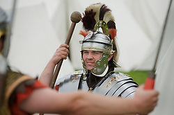 A member of the Legio VIII Augusta Military and Civilian Living History Society  at a multi period event held in Norfolk Heritage Park Sheffield.29th and 30th Aug 2010 .Images © Paul David Drabble..