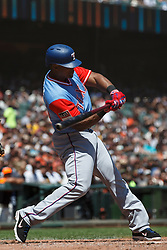 SAN FRANCISCO, CA - AUGUST 26: Adrian Beltre #29 of the Texas Rangers at bat against the San Francisco Giants during the third inning at AT&T Park on August 26, 2018 in San Francisco, California. The San Francisco Giants defeated the Texas Rangers 3-1. All players across MLB will wear nicknames on their backs as well as colorful, non-traditional uniforms featuring alternate designs inspired by youth-league uniforms during Players Weekend. (Photo by Jason O. Watson/Getty Images) *** Local Caption *** Adrian Beltre