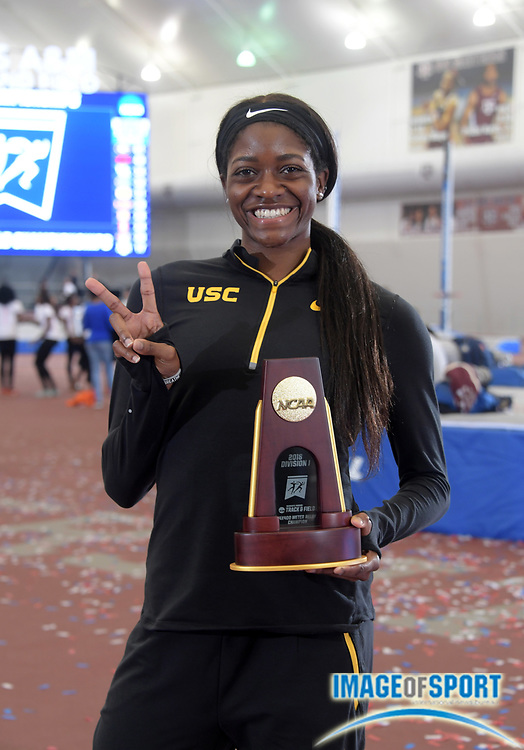 Mar 10, 2018; College Station, TX, USA; Kendall Ellis of Southern California pose after winning the women's 400m in a North American indoor record 50.34 during the NCAA Indoor Track and Field Championships at the McFerrin Athletic Center.