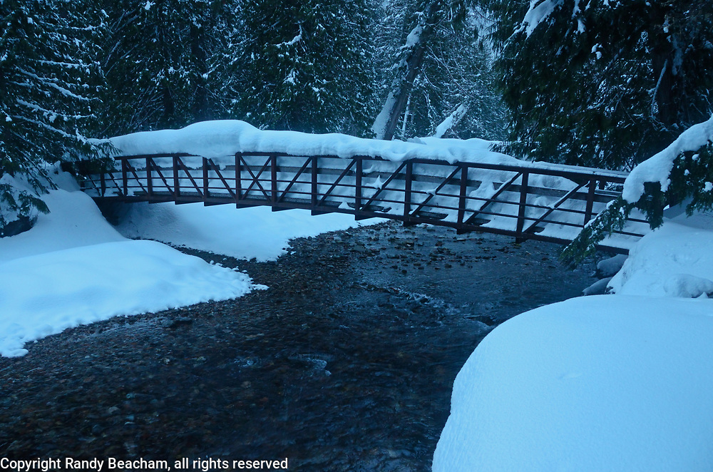 Footbridge over Ross Creek in winter. Ross Creek Cedar Grove in the Kootenai National Forest, northwest Montana.