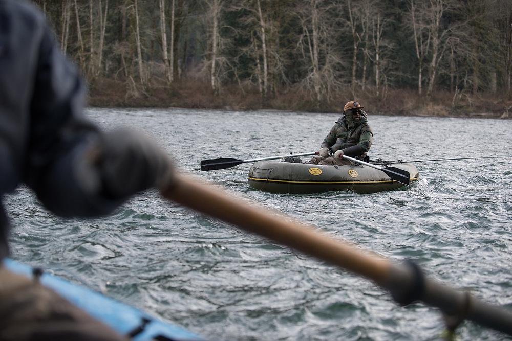 2017 JAN 13: Steelhead fishing on the Skagit River near Concrete, Washington.