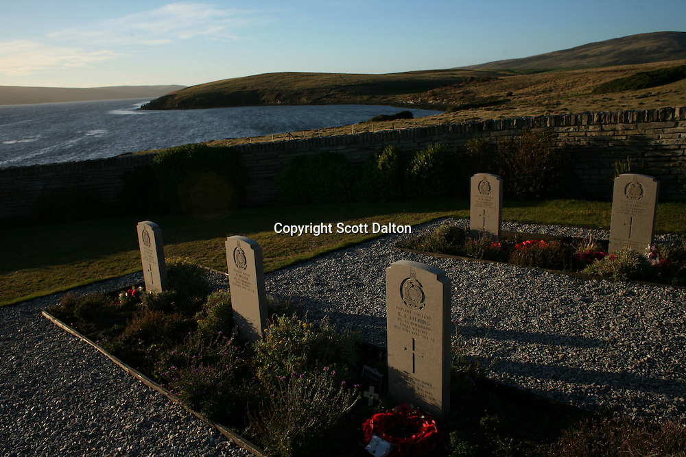 The British War Cemetery in San Carlos, in the Falkland Islands, on Sunday, March 19, 2007. San Carlos is where British forces landed in their offensive to retake the islands from the Argentinean occupation. (Photo/Scott Dalton)