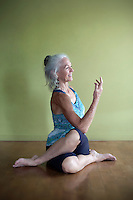 Gomukasana as a seated twist.<br />