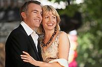 Elegant couple on London street ouside building close up