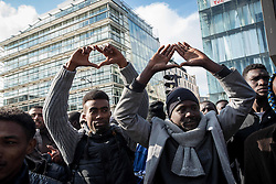 October 15, 2016 - Paris, France - The demostration reachs the Stalingrad tube station where migrants have been living under harsh condiitons. in Paris, France, on October 10, 2016. Hundreds of people gather in the parisian streets to complain the violence of the French police. The demonstation which started at the place de la République, ended at the metro Stalingrad where hundreds of migrants have been living in the streets under rough conditions. (Credit Image: © Guillaume Pinon/NurPhoto via ZUMA Press)