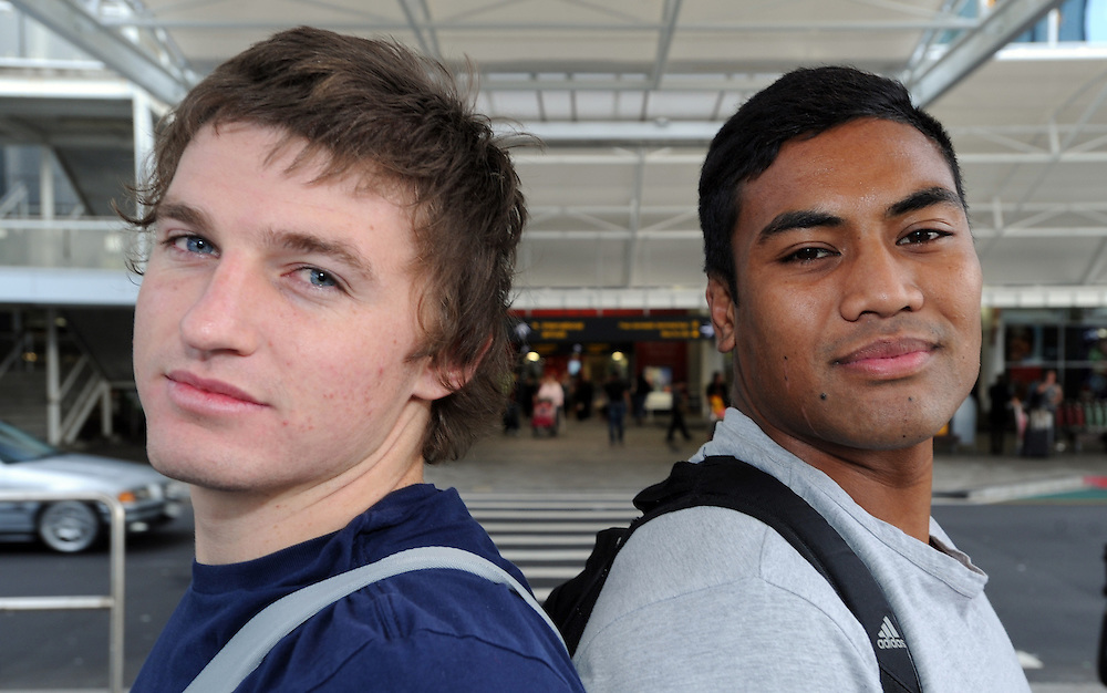 New Hurricanes caps Beauden Barrett, left and Julian Savea join the New Zealand All Black rugby squad to meet Ireland in a three test series, Auckland, New Zealand, Sunday, June 03, 2012. Credit:SNPA / Ross Setford