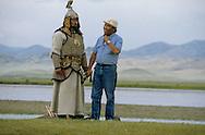 Mongolia. Mr. Baljiniam shooting Gengis Khan movie  Underchirit