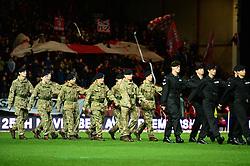 Royal Tank regiment walk out on to the pitch at Ashton Gate - Mandatory by-line: Dougie Allward/JMP - 05/11/2016 - FOOTBALL - Ashton Gate - Bristol, England - Bristol City v Brighton and Hove Albion - Sky Bet Championship