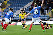 Oxford United midfielder Alex MacDonald scores the first goal during the Sky Bet League 2 match between Oxford United and Carlisle United at the Kassam Stadium, Oxford, England on 12 December 2015. Photo by Alan Franklin.